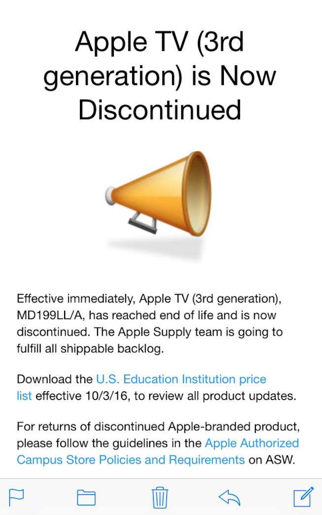 correo salida del apple tv tercera generación