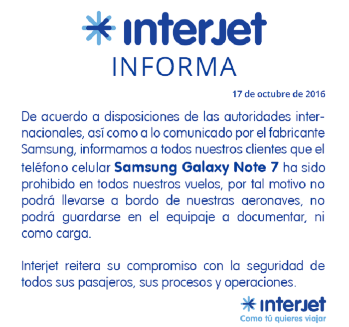 interjet galaxy note 7