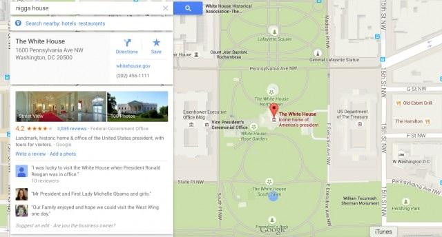 Errores en Google Map Maker sobre la casa blanca