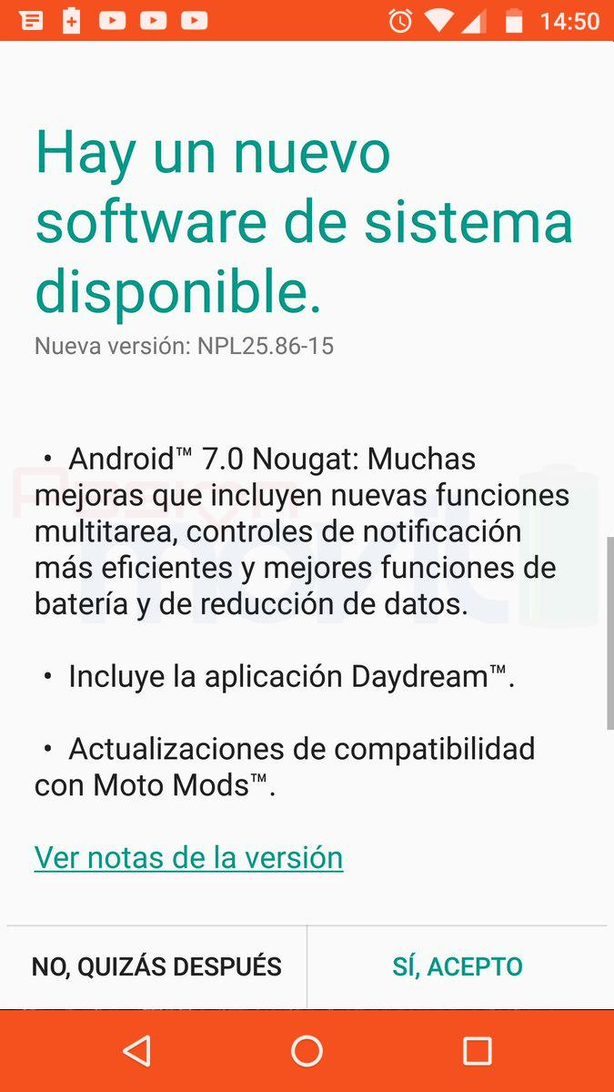 Moto Z Android 7.0 Nougat actualizacion mexico