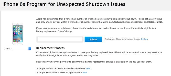 programa reemplazo bateria iphone 6s