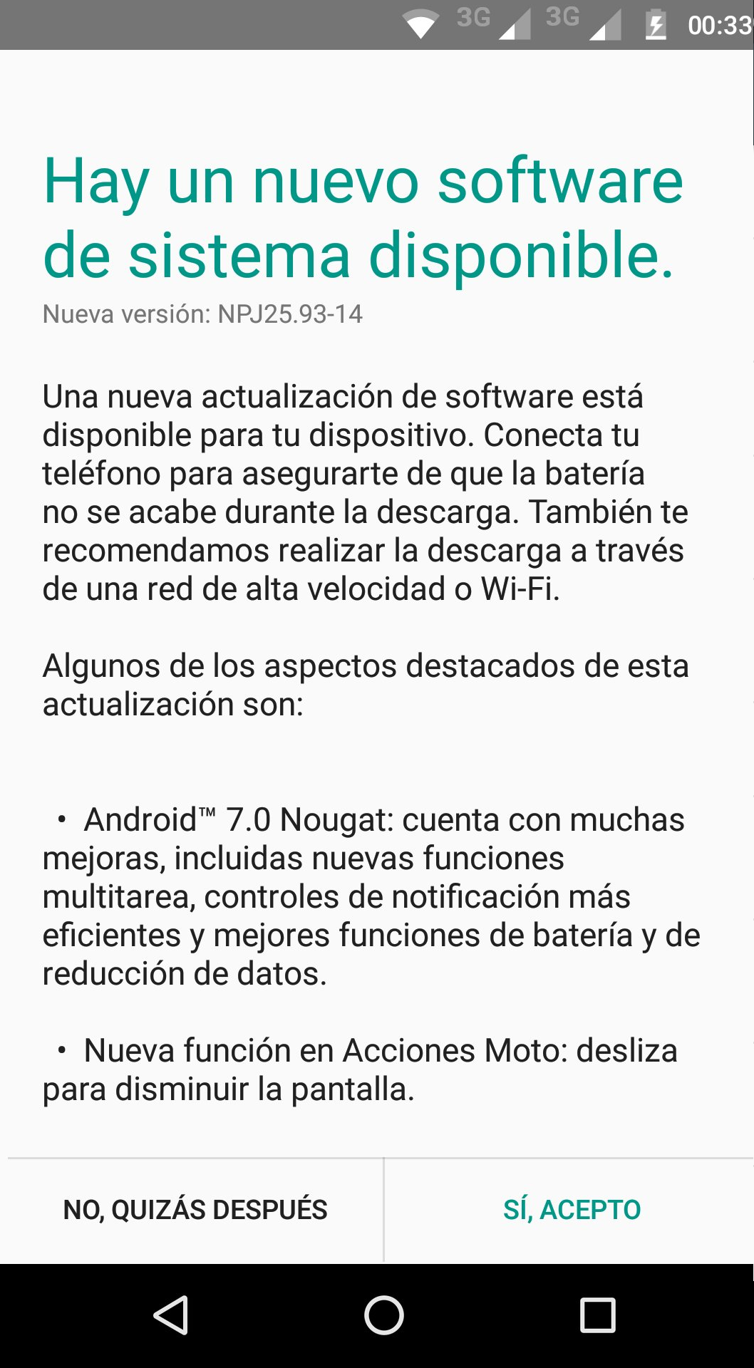 Moto G4 Nougat oficial