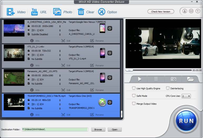 WinX HD Video Converter Deluxe capturas