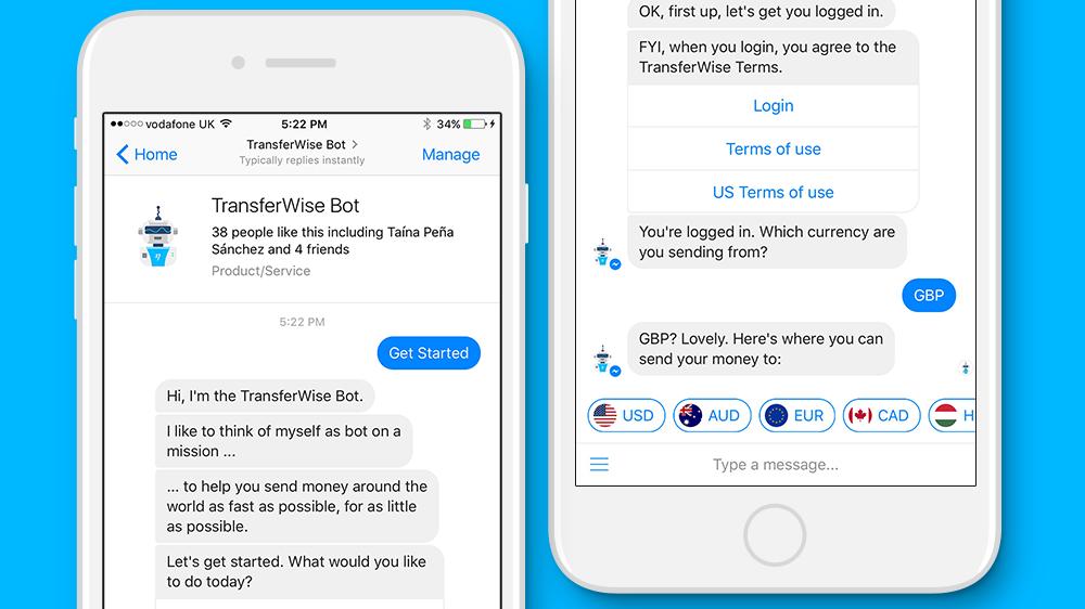 bot transferwise facebook messenger