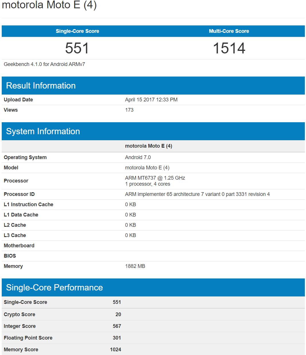 Moto E4 especificaciones tecnicas filtradas benchmark geekbench