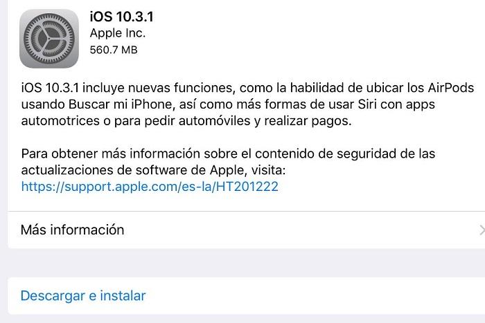 ios 10.3.1 espanol