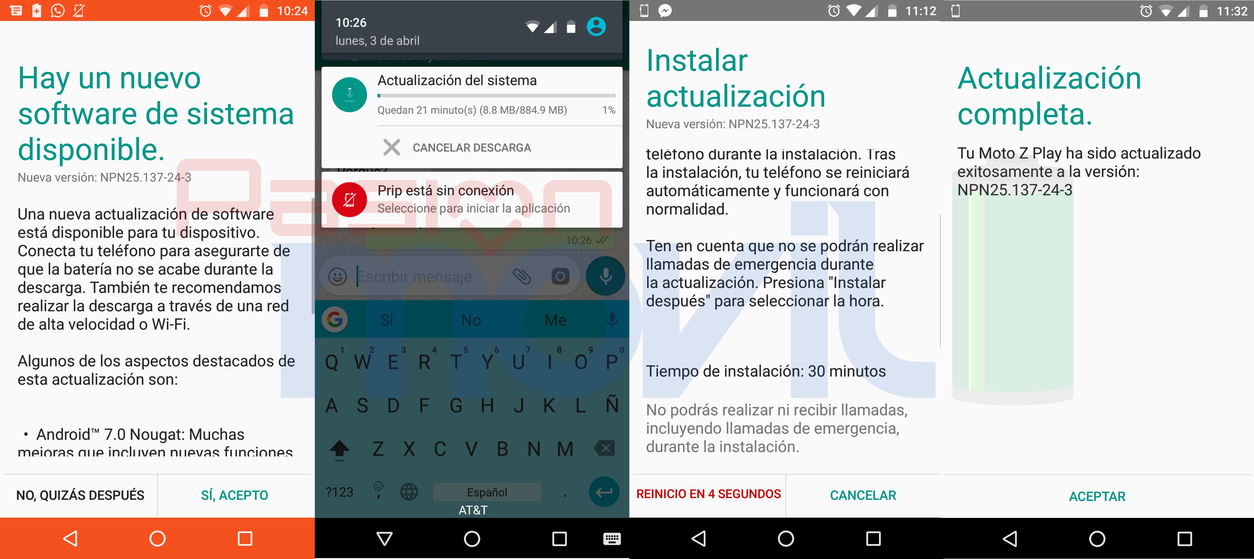moto-z-play actualizacion android 7.0 nougat mexico att