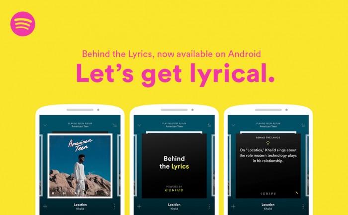 spotify lyrics llega a android