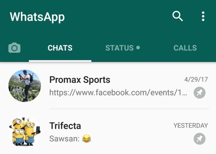 whatsapp permite fijar 3 conversaciones