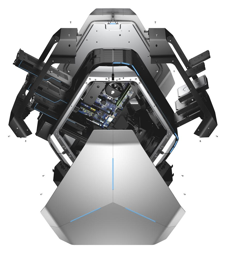 Dell Alienware Area 51 R3 gaming desktop, codename Centauri-X. Image shown with exterior panels removed to show internal components.