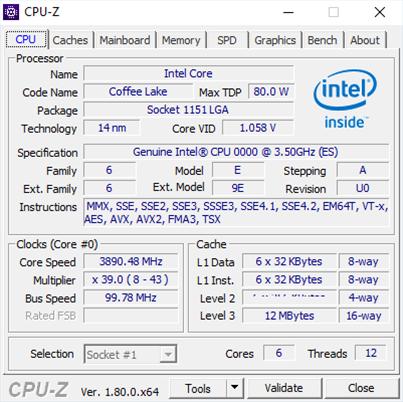 intel core i7 8700k cpuz filtracion especificaciones