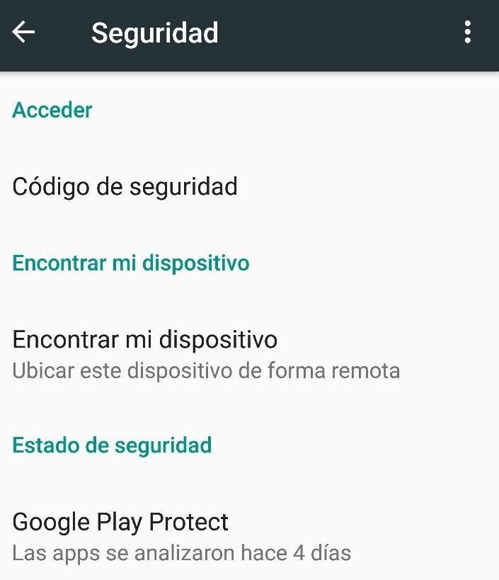 google play protec ajustes