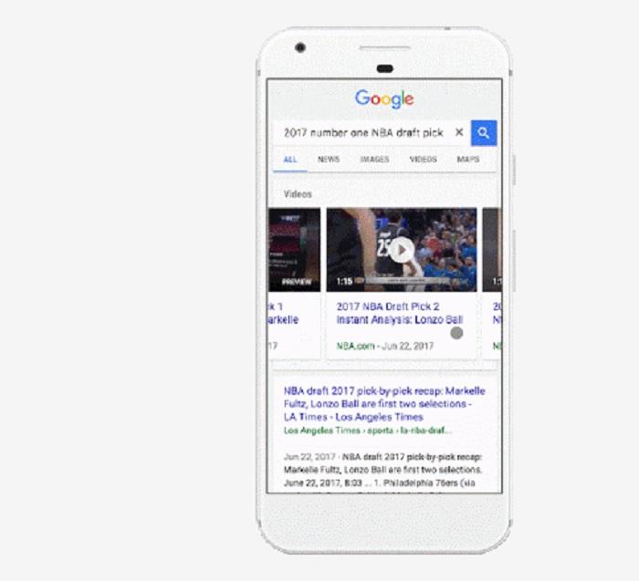 google search vista previa video