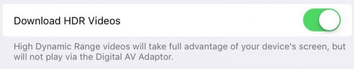 Apartado en Ajustes para habilitar/deshabilitar contenido en HDR