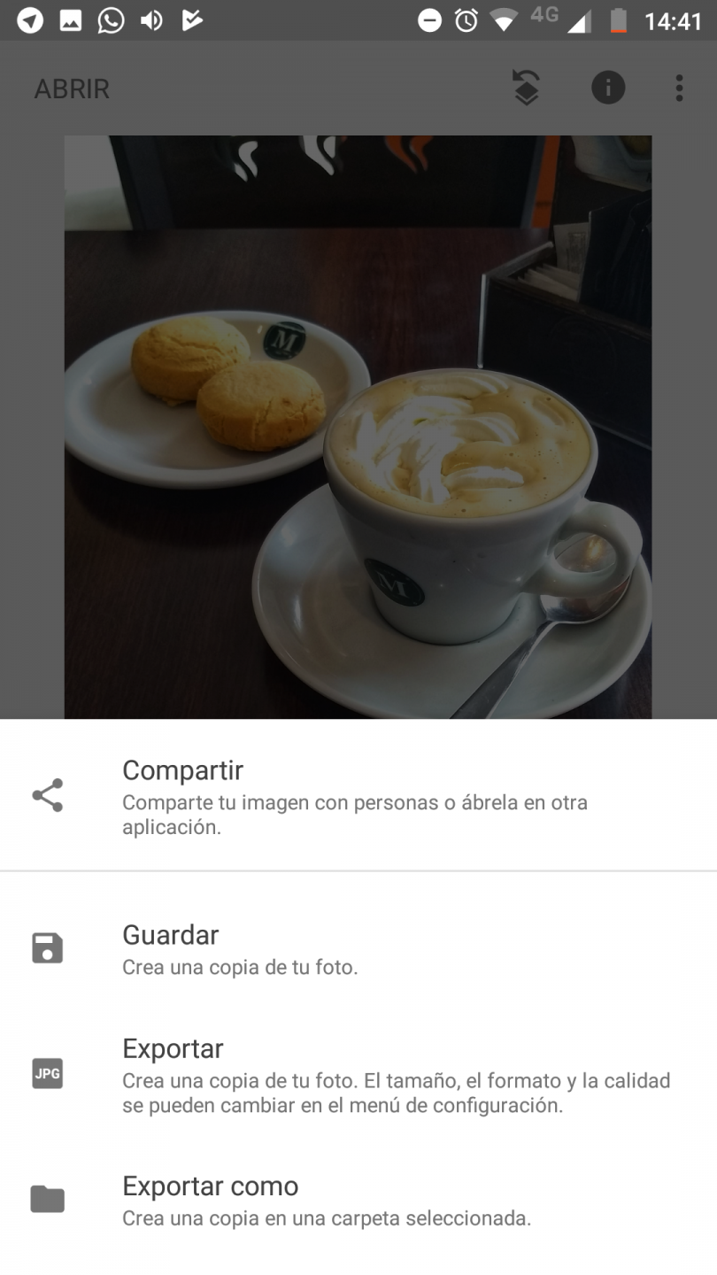 Snapseed - guardar y compartir