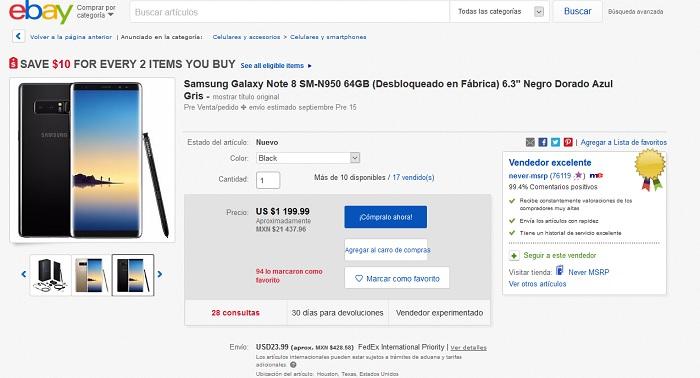 ebay preventa galaxy note 8