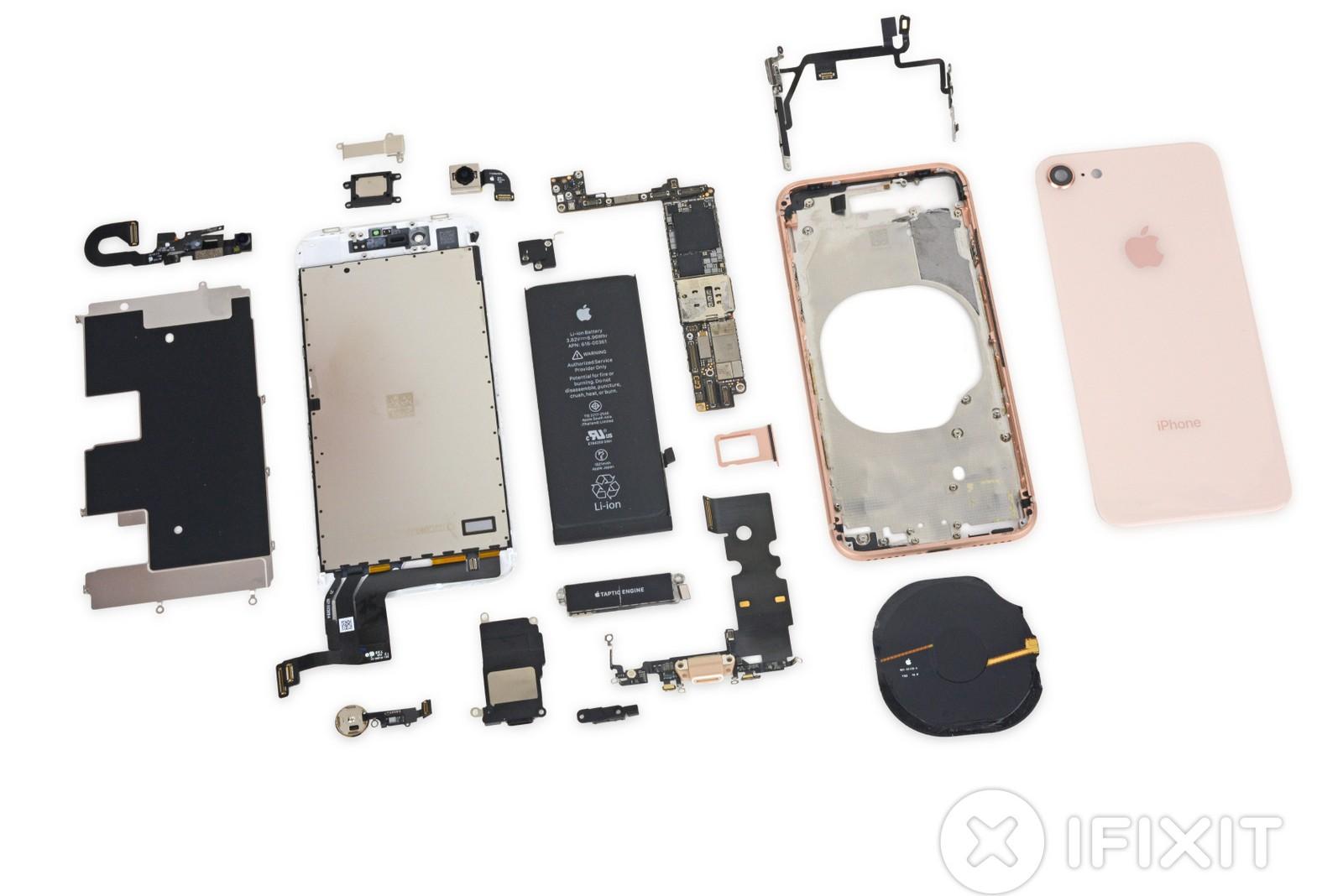 Así luce un iPhone 8 desarmado completamente
