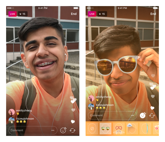Ahora puedes elegir filtros para el rostro cuando transmites en directo