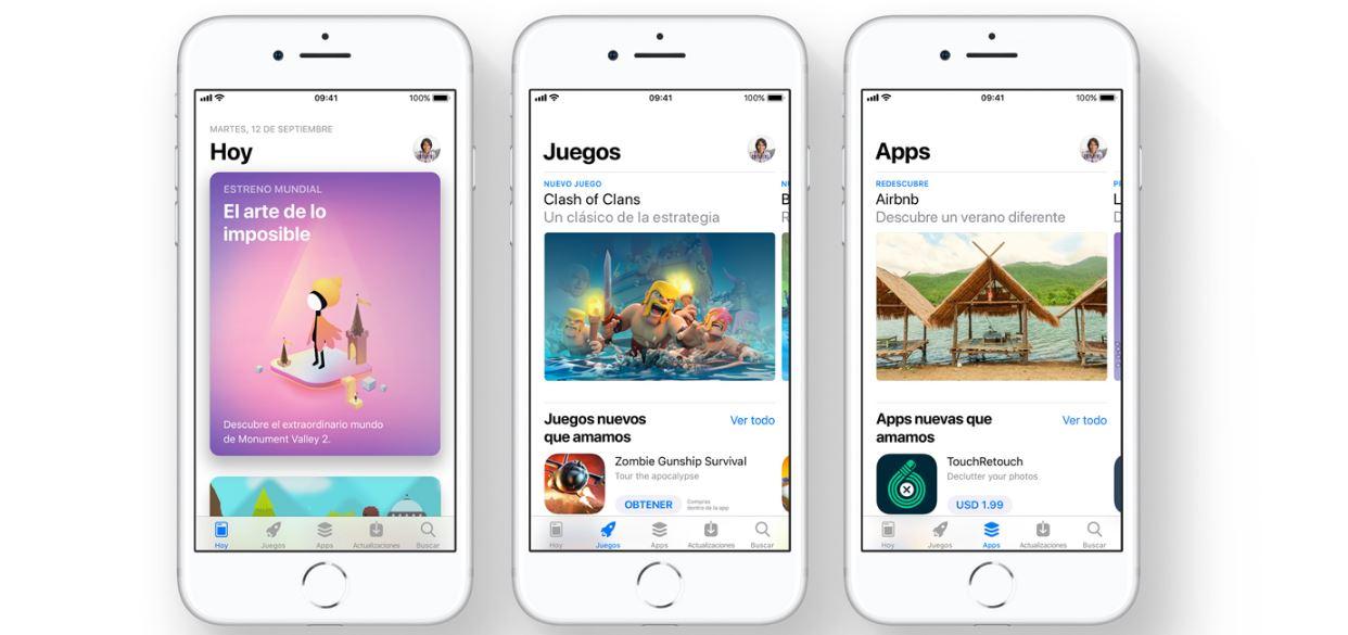 Cada pestaña se ha renovado para ayudarte a encontrar mejor la app que necesitas