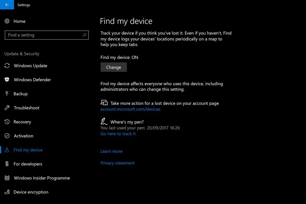 windows 10 fall creators update find my pen