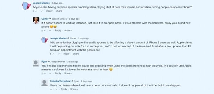 iphone x problema auricular comentarios