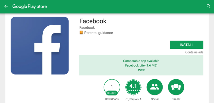 Play Store Facebook